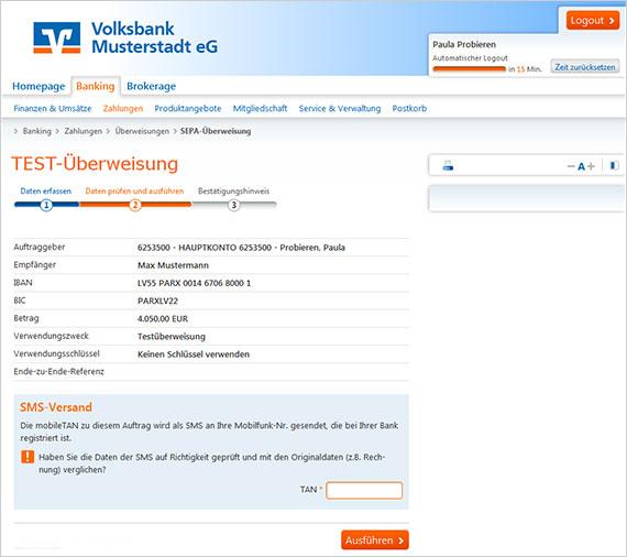Ansicht Phishing-Mail, Vorwand: Test-Überweisung